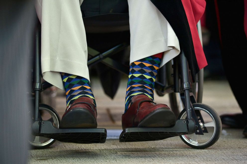 PHOTO: Detail of George H.W. Bushs colorful socks at the Harvard University 363rd Commencement Exercises Ceremony in Cambridge, Mass., May 29, 2014.