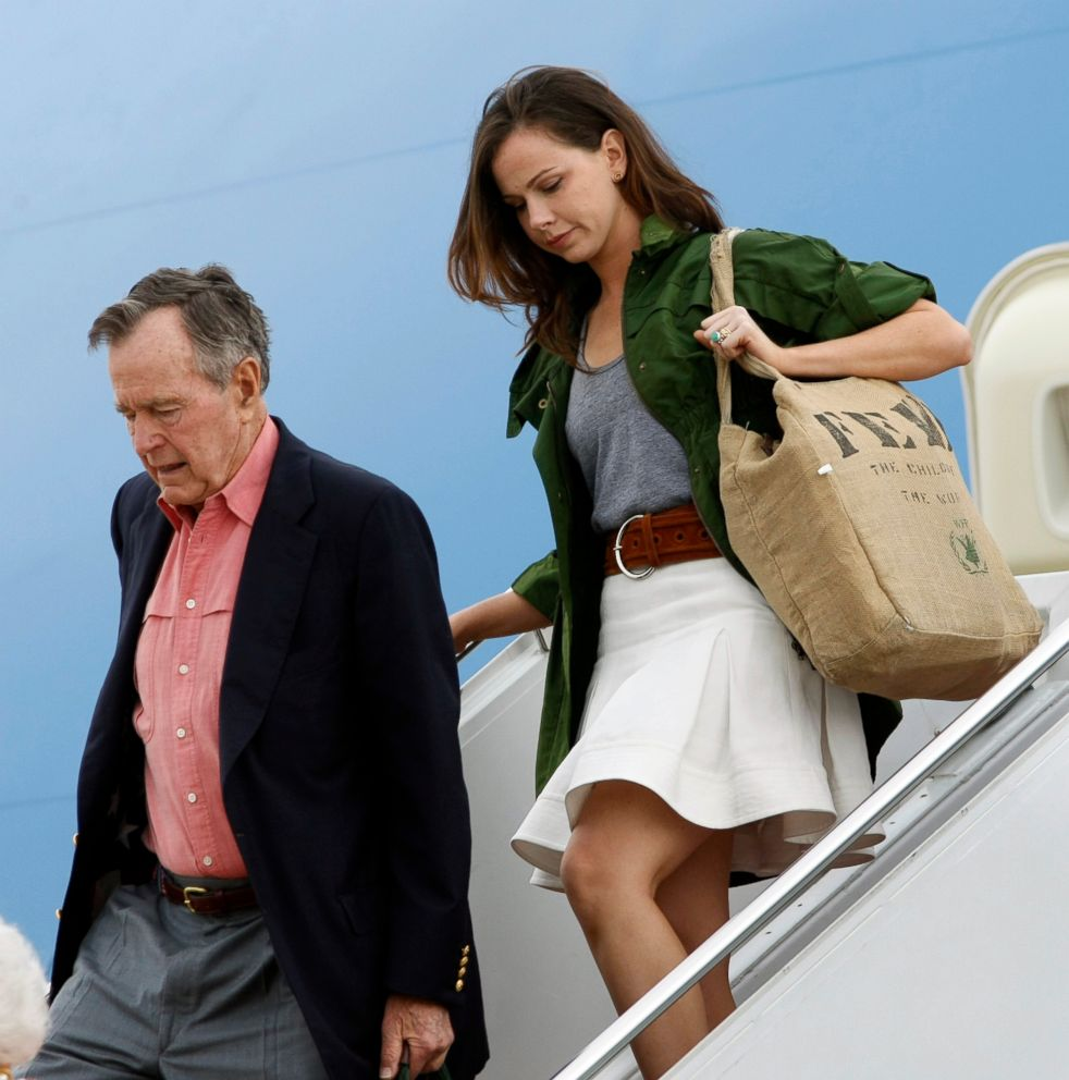 PHOTO: Former President George H.W. Bush and granddaughter Barbara Bush arrive aboard Air Force One at Andrews Air Force Base Md., May 11, 2008.