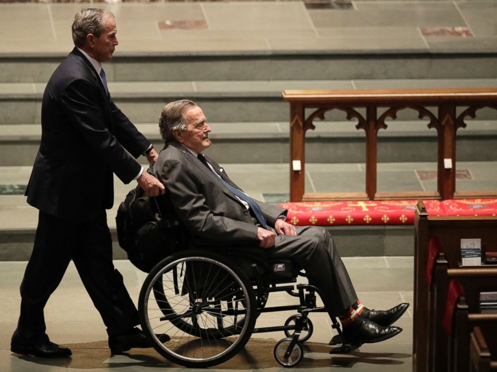 Former Presidents George W. Bush, left, and George H.W. Bush arrive at St. Martins Episcopal Church for a funeral service for former first lady Barbara Bush, Saturday, April 21, 2018, in Houston.