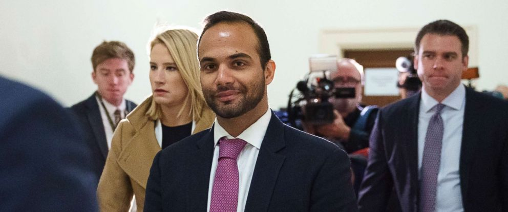 PHOTO: George Papadopoulos, the former Trump campaign adviser who triggered the Russia investigation, arrives for his first appearance before congressional investigators, on Capitol Hill in Washington, D.C., Oct. 25, 2018.