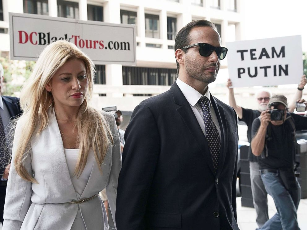 PHOTO: Former Trump Campaign aide George Papadopoulos arrives with his wife Simona Mangiante at the U.S. District Court for his sentencing hearing Sept. 7, 2018 in Washington, DC.