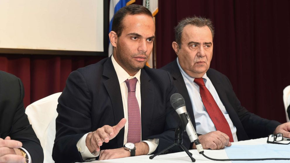 George Papadopoulos, left, speaks at an event in Astoria, N.Y., Nov. 6, 2016. At right is Dr. Michael Katehakis of Rutgers University.