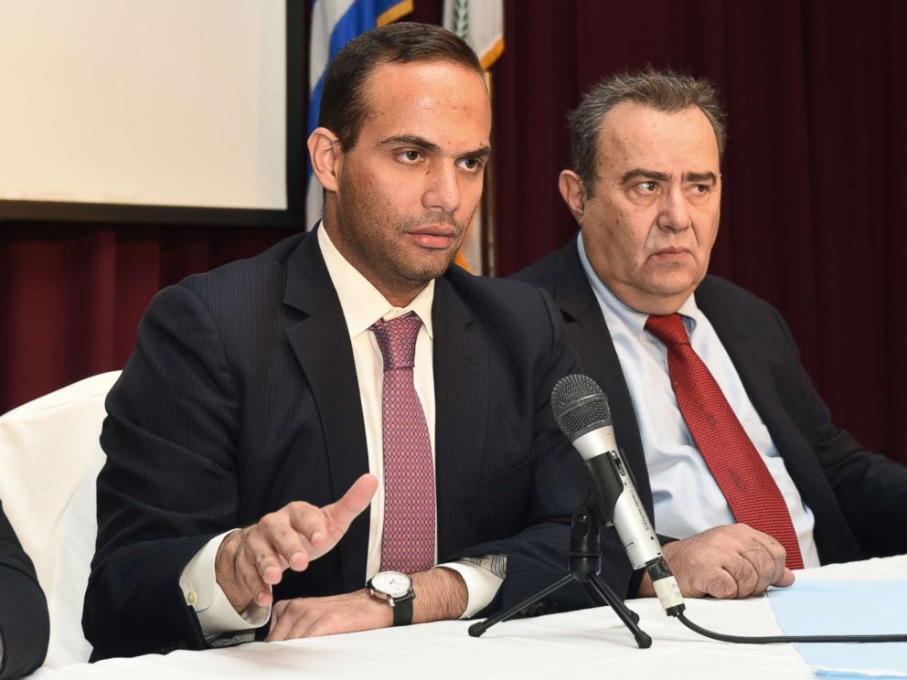 PHOTO: George Papadopoulos, left, speaks at an event in Astoria, N.Y., Nov. 6, 2016. At right is Dr. Michael Katehakis of Rutgers University. <p itemprop=
