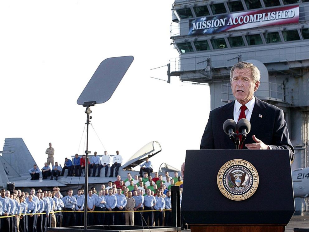 PHOTO: President George W. Bush addresses the nation aboard the nuclear aircraft carrier USS Abraham Lincoln May 1, 2003, as it sails for Naval Air Station North Island, San Diego, Calif.