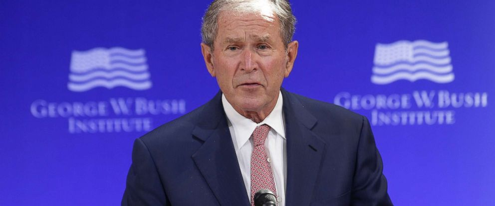 PHOTO: Former U.S. President George W. Bush speaks at a forum sponsored by the George W. Bush Institute in New York City, Oct. 19, 2017.