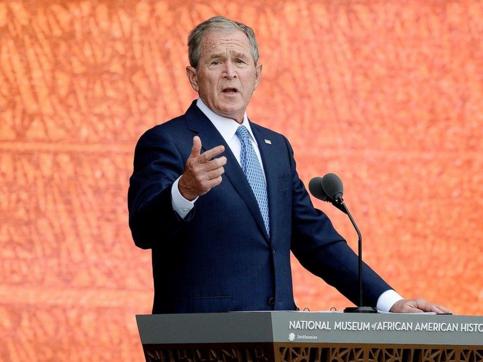 PHOTO: Former President George W. Bush speaks at the opening ceremony of the Smithsonians National Museum of African American History and Culture in Washington, D.C., Sept. 24, 2016.