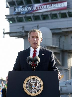 PHOTO: President George W. Bush addresses the nation aboard the nuclear aircraft carrier USS Abraham Lincoln as it sails for Naval Air Station North Island, San Diego, Calif.