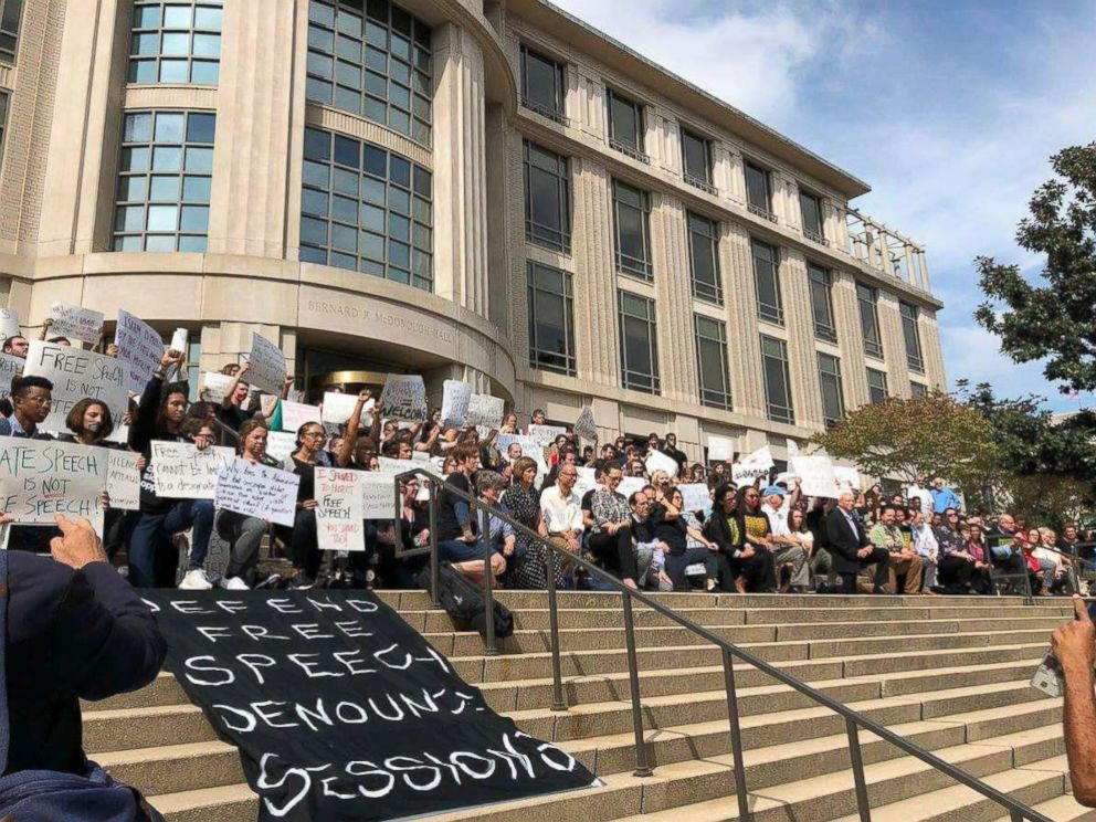 PHOTO: Georgetown University Law Center students and faculty take a knee to protest Attorney General Jeff Sessions speech on Sept. 26, 2017 in Washington.