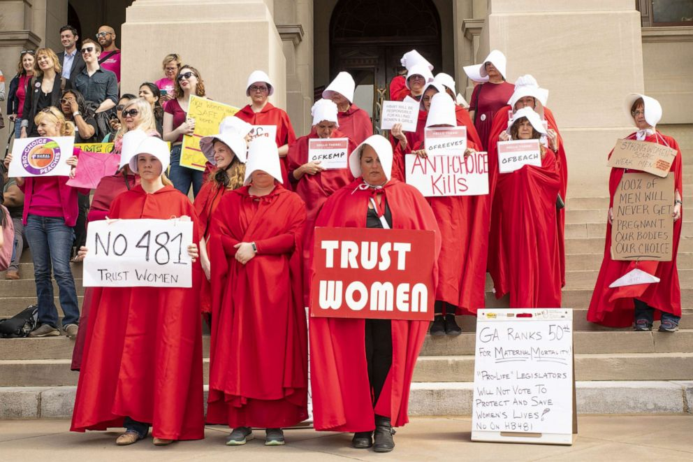 PHOTO: Dozens of demonstrators protested against the heartbeat bill legislation at the Georgia State Capitol building, March 15, 2019.