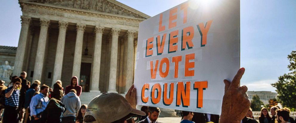 """PHOTO: People hold signs during a rally to call for """"An End to Partisan Gerrymandering"""" at the Supreme Court of the United States on Oct. 3, 2017, in Washington."""