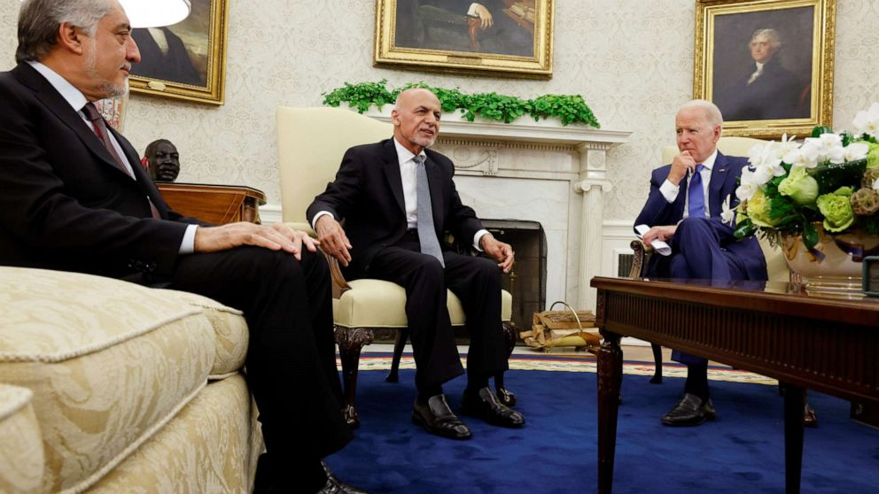 PHOTO: President Joe Biden meets with Afghan President Ashraf Ghani and Chairman of Afghanistan's High Council for National Reconciliation Abdullah Abdullah at the White House in Washington, June 25, 2021.