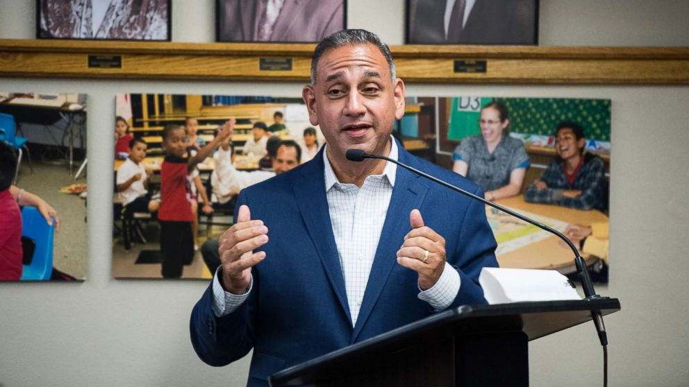 Gil Cisneros, Democrat running for California's 39th Congressional district seat in Congress, speaks to the Hacienda Heights Improvement Association meeting at the Hacienda La Puente Unified School District board room in the City of Industry, Calif.,  May 21, 2018.