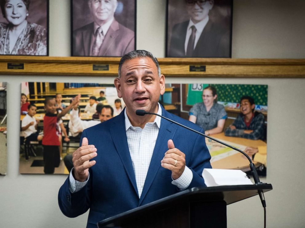 PHOTO: Gil Cisneros, Democrat running for Californias 39th Congressional district seat in Congress, speaks, May 21, 2018.