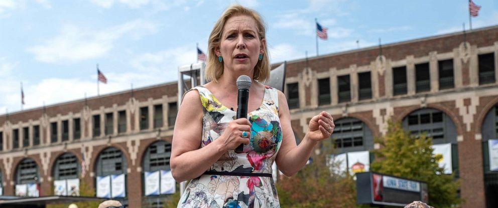 PHOTO: Democratic presidential candidate U.S. Sen. Kirsten Gillibrand (D-NY) speaks to a crowd at the Iowa State Fair on August 10, 2019 in Des Moines, Iowa.