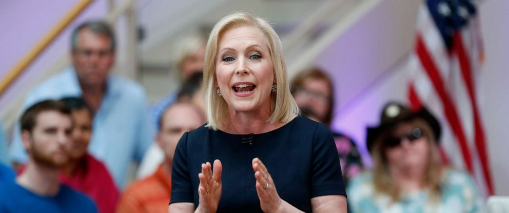 PHOTO: Democratic presidential candidate Sen. Kirsten Gillibrand speaks during a FOX News town hall, June 2, 2019, in Dubuque, Iowa.