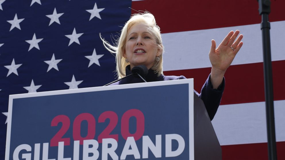 Democratic presidential candidate U.S. Sen. Kirsten Gillibrand speaks during a rally in front of Trump International Hotel & Tower, March 24, 2019, in New York.