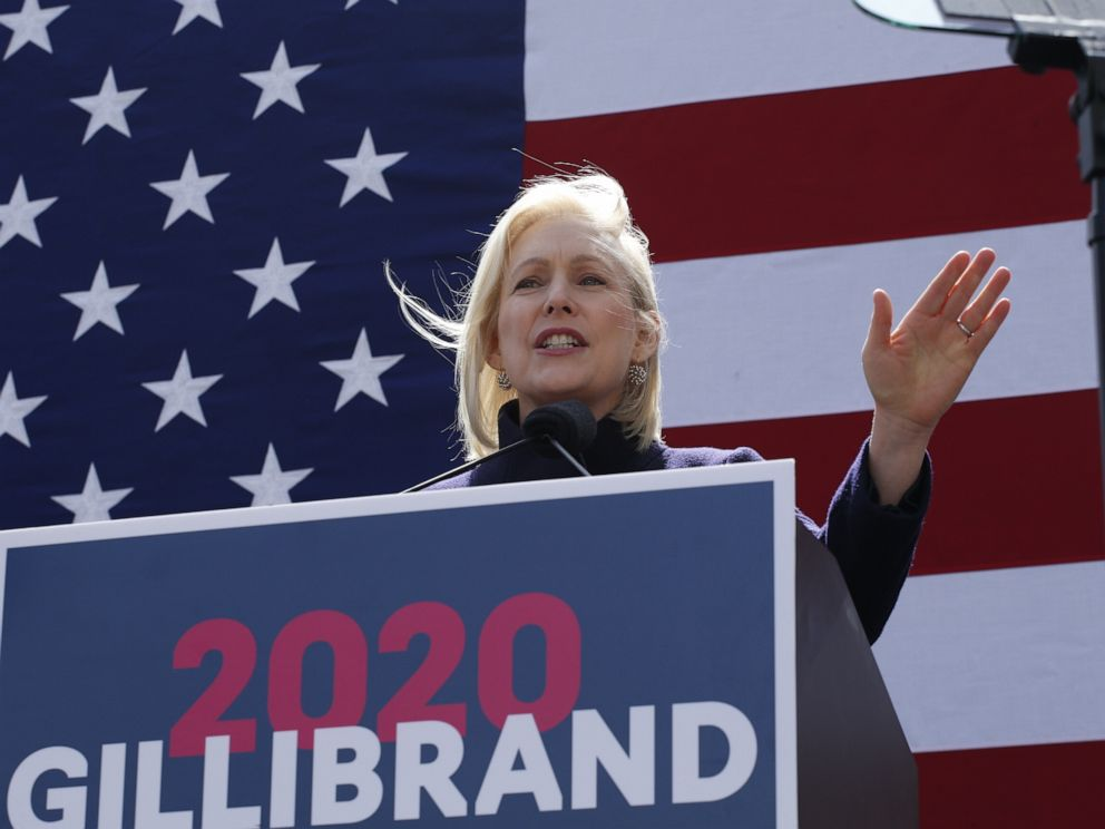 PHOTO: Democratic presidential candidate U.S. Sen. Kirsten Gillibrand speaks during a rally in front of Trump International Hotel & Tower, March 24, 2019, in New York.