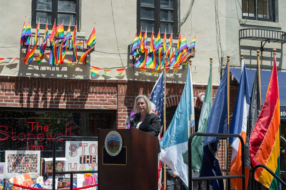 PHOTO: NY Senator Kirsten Gillibrand speaks as Mayor Bill de Blasio joins elected officials, advocates and New Yorkers in designating Stonewall Inn a National Monument, June 27, 2016, in New York.
