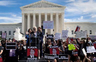 PHOTO: Senator Kirsten Gillibrand speaks alongside Senator Kamala Harris and Senator Mazie Hirono, as demonstrators protest against Judge Brett Kavanaughs nomination outside the U.S. Supreme Court in Washington, D.C., Sept. 28, 2018.