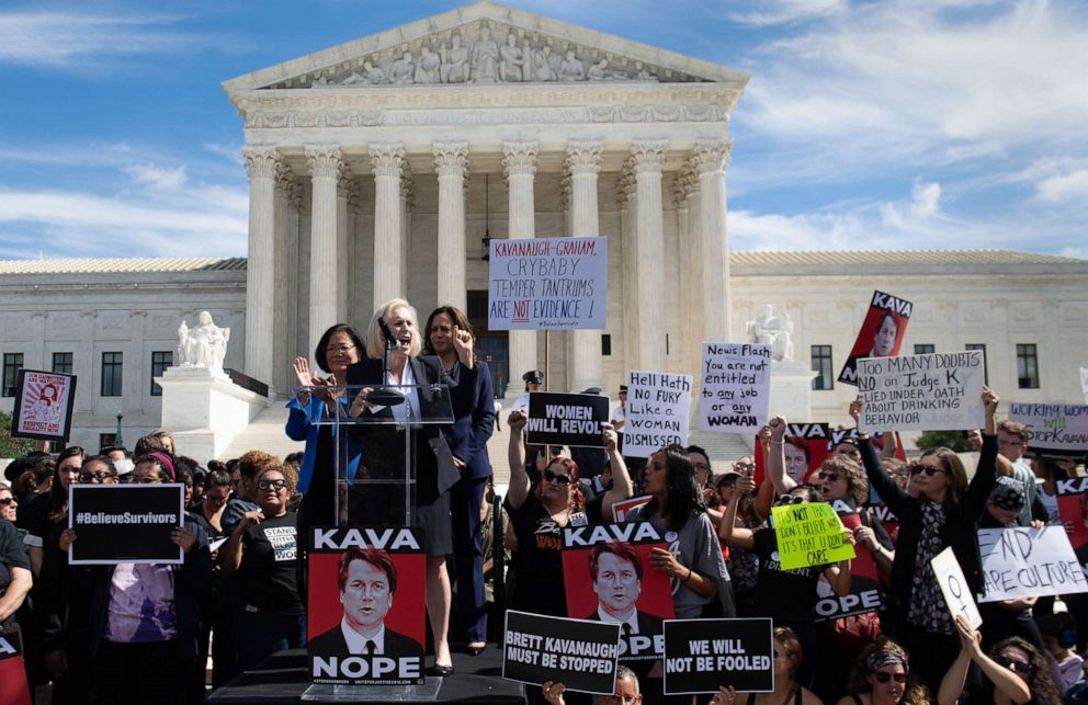 PHOTO: Senator Kirsten Gillibrand speaks alongside Senator Kamala Harris and Senator Mazie Hirono, as demonstrators protest against Judge Brett Kavanaughs nomination outside the U.S. Supreme Court in Washington, D.C., Sept. 28, 2018.