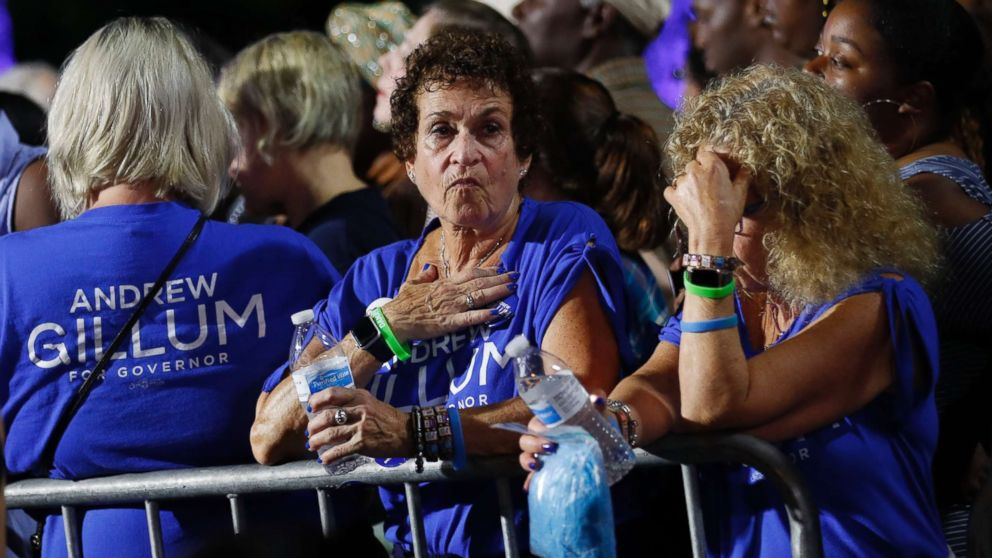 Supporters of Democratic gubernatorial candidate Andrew Gillum react at his midterm election night party in Tallahassee, Fla., Nov. 6, 2018.