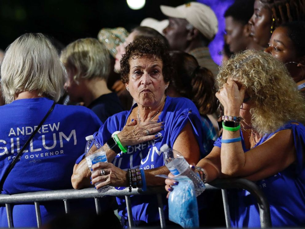 PHOTO: Supporters of Democratic gubernatorial candidate Andrew Gillum react at his midterm election night party in Tallahassee, Fla., Nov. 6, 2018.