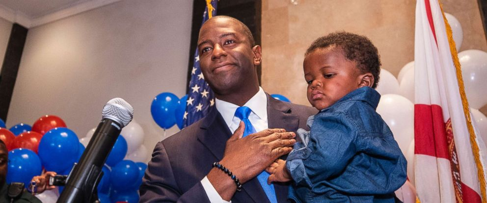 PHOTO: Andrew Gillum, Democratic candidate for governor, holds his son Jackson during his election watch party, Aug. 28, 2018, in Tallahassee, Fla.