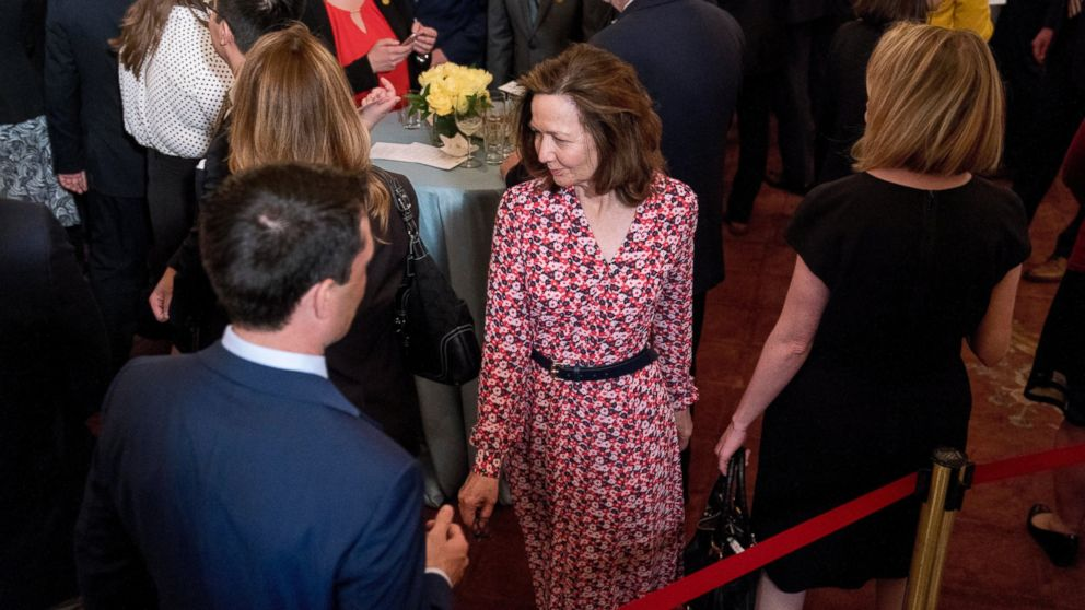 In this May 2, 2018, photo, CIA Director-nominee Gina Haspel attends the ceremonial swearing in for Secretary of State Mike Pompeo at the State Department in Washington.