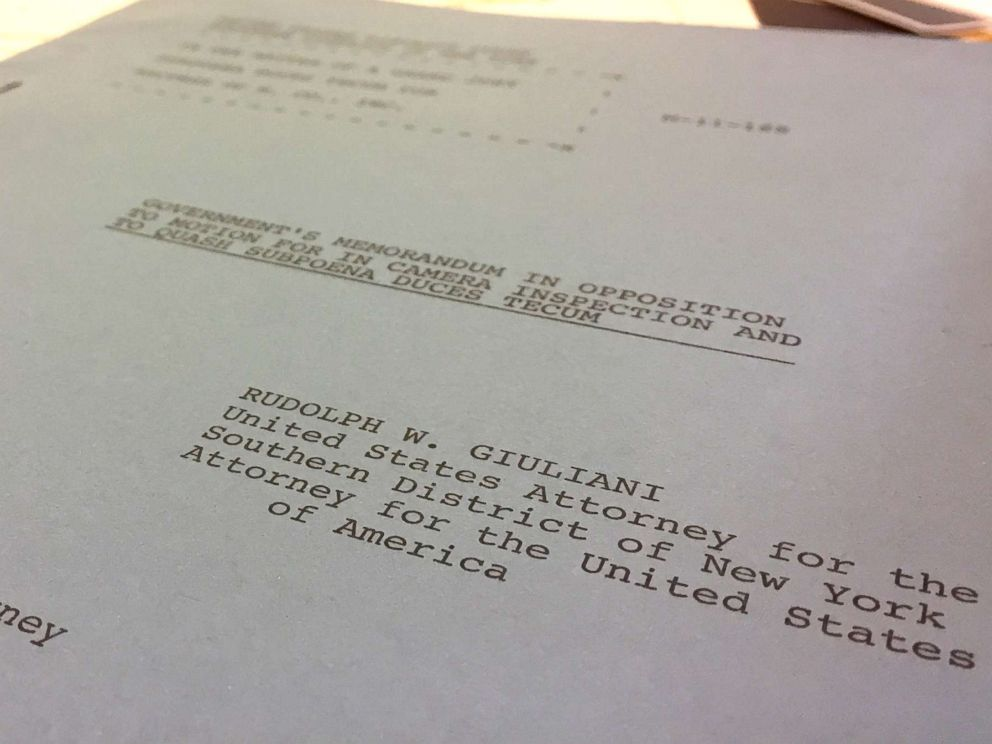 PHOTO: When he was U.S. attorney, Rudy Giulianis name was imprinted on the cover of a legal brief filed on Jan. 26, 1984, in U.S. District Court for the Southern District of New York. The brief sought to compel compliance with a grand jury subpoena.