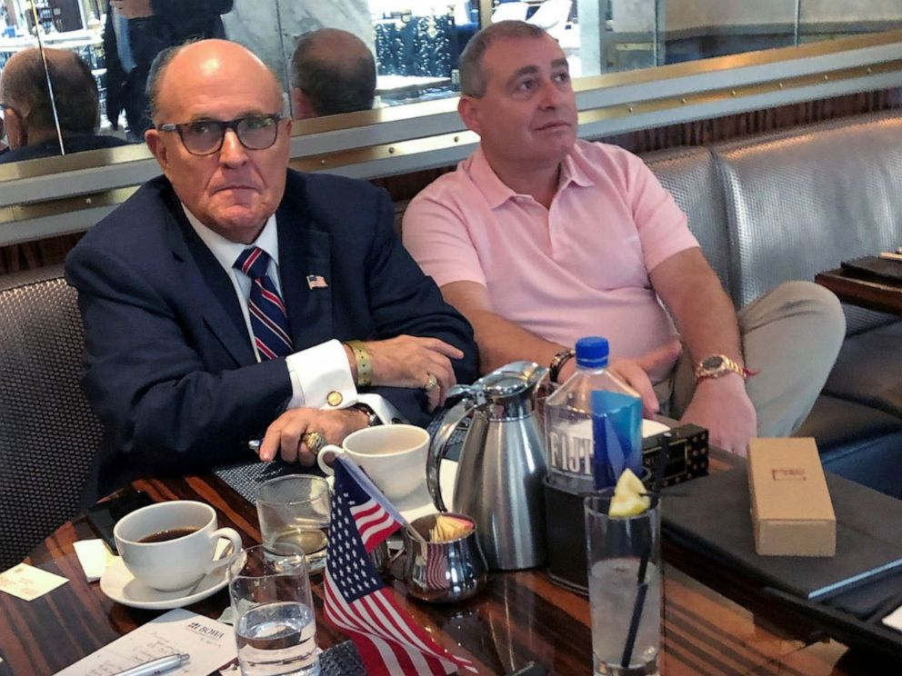 PHOTO: President Trumps personal lawyer Rudy Giuliani with Ukrainian-American businessman Lev Parnas at the Trump International Hotel in Washington, D.C., Sept. 20, 2019.