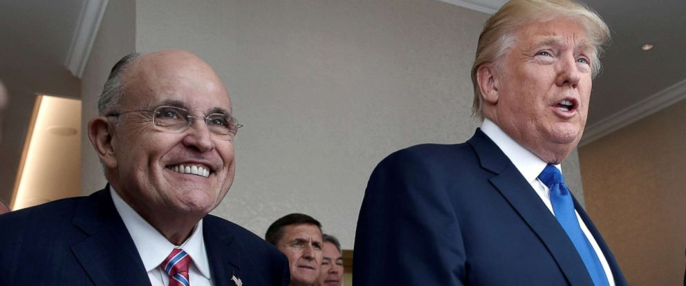 PHOTO: File photo of Republican presidential nominee Donald Trump with former New York City mayor Rudolph Giuliani, left, at the new Trump International Hotel, Sept. 16, 2016, in Washington, D.C.