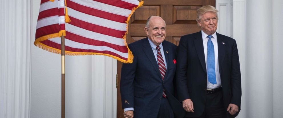 PHOTO: Rudy Giuliani greets President-elect Donald Trump at the clubhouse at Trump National Golf Club Bedminster in Bedminster Township, N.J., Nov. 20, 2016.
