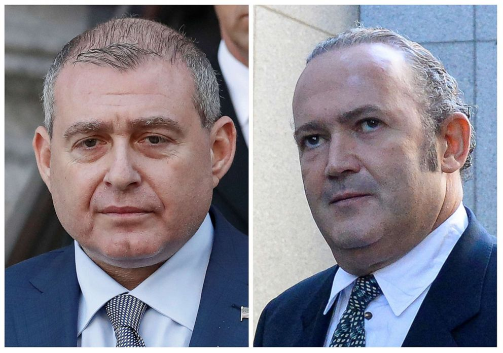 PHOTO: A combination file picture shows Ukrainian-American businessman Lev Parnas and Russian-born businessman Igor Fruman exiting the U.S. Courthouse in New York City, U.S., Oct. 23, 2019.