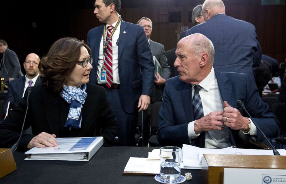 PHOTO: CIA Director Gina Haspel speaks with Director of National Intelligence Daniel Coats during a hearing before the Senate Intelligence Committee on Capitol Hill in Washington, Jan. 29, 2019.