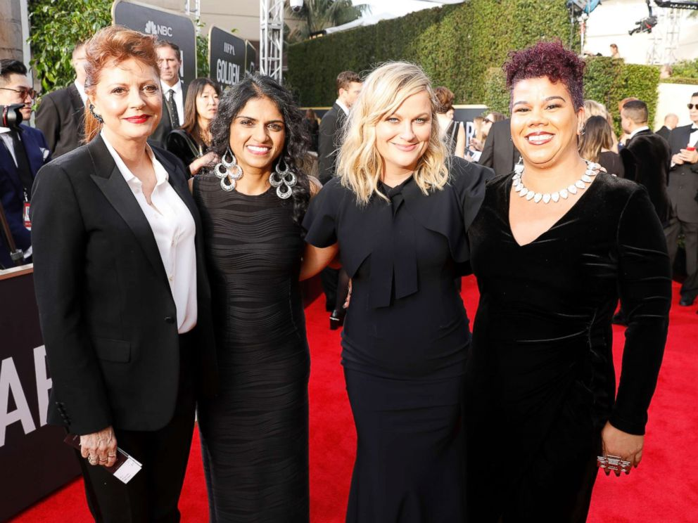 PHOTO: Susan Sarandon, activist Saru Jayaraman, actor Amy Poehler and activist Rosa Clemente arrive to the 75th Annual Golden Globe Awards held at the Beverly Hilton Hotel on Jan. 7, 2018.