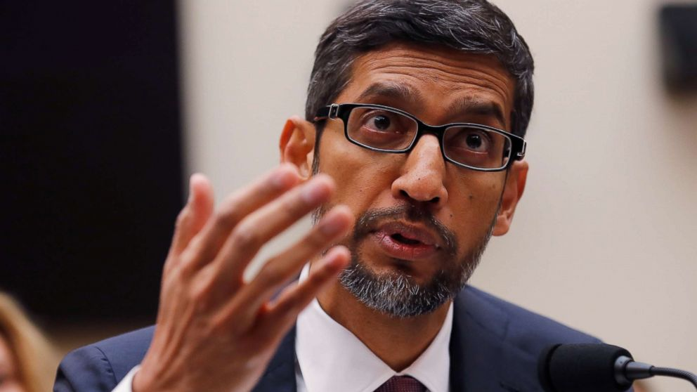Google CEO Sundar Pichai testifies at a House Judiciary Committee hearing examining Google and its Data Collection, Use and Filtering Practices?� on Capitol Hill in Washington, Dec. 11, 2018.