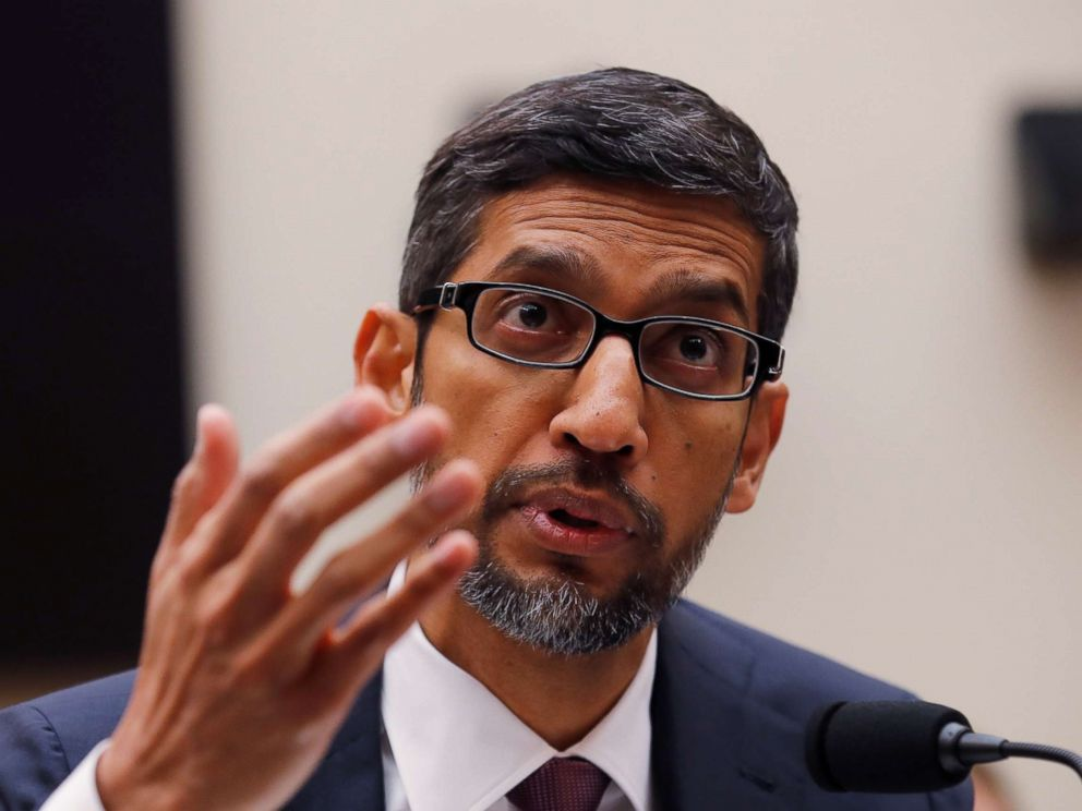 PHOTO: Google CEO Sundar Pichai testifies at a House Judiciary Committee hearing examining Google and its Data Collection, Use and Filtering Practices? on Capitol Hill in Washington, Dec. 11, 2018.