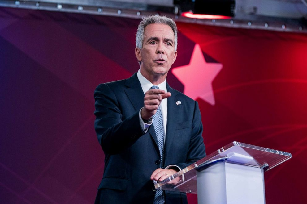 PHOTO: Republican presidential candidate and former U.S. Rep. Joe Walsh, R-Ill., speaks at a debate alongside former Massachusetts Gov. Bill Weld, hosted by Business Insider, Tuesday, Sept. 24, 2019, in New York.