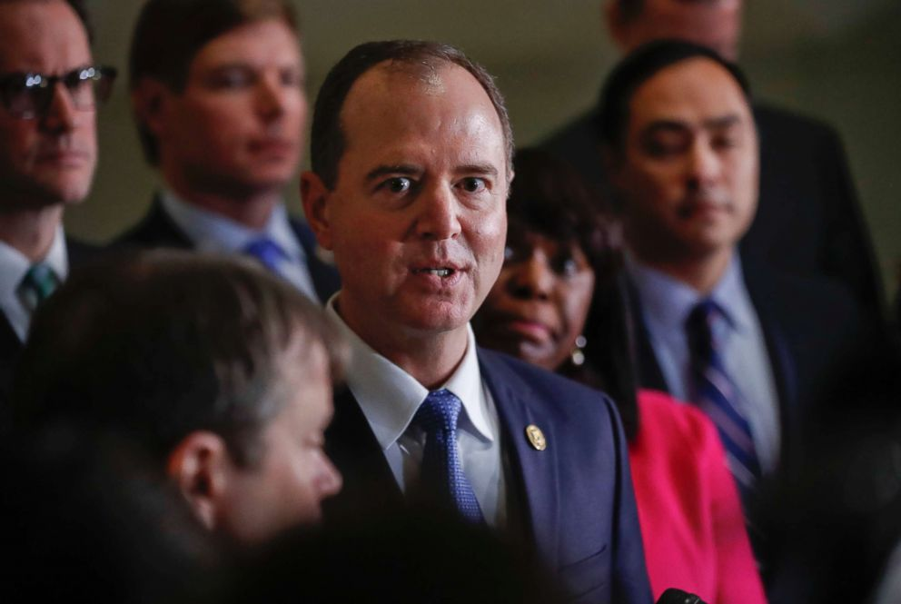PHOTO: Rep. Adam Schiff, ranking member of the House Intelligence Committee, speaks to members of the media, Jan. 29, 2018 on Capitol Hill in Washington.