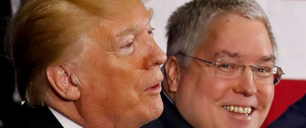 PHOTO: President Donald Trump and West Virginia Attorney General Patrick Morrisey during a visit to White Sulphur Springs in West Virginia, April 5, 2018.