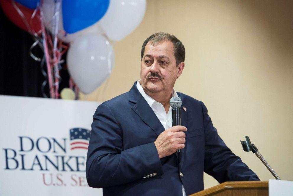 PHOTO: Republican U.S. Senate candidate Don Blankenship speaks to his supporters during the primary election in Charleston, West Virginia, May 8, 2018.