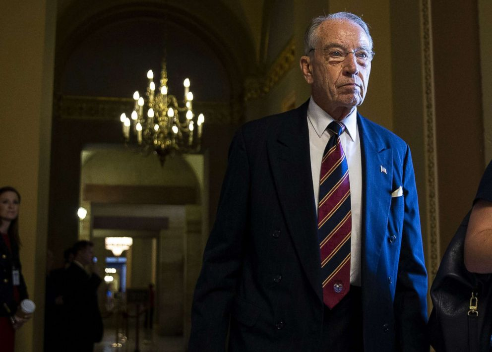 PHOTO: Senator Chuck Grassley, a Republican from Iowa and chairman of the Senate Judiciary Committee, walks through the U.S. Capitol in Washington, Sept. 18, 2018.