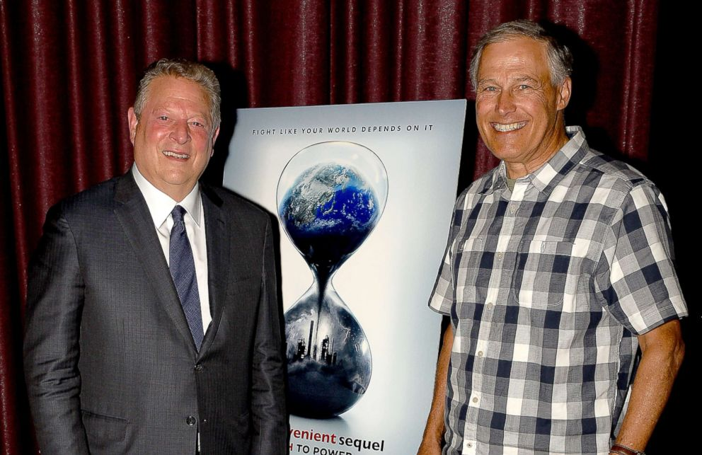 "Former Vice President Al Gore and Governor of Washington Jay Inslee attend a special screening of ""An Inconvenient Sequel: Truth to Power"" at SIFF Cinema, July 30, 2017, in Seattle."