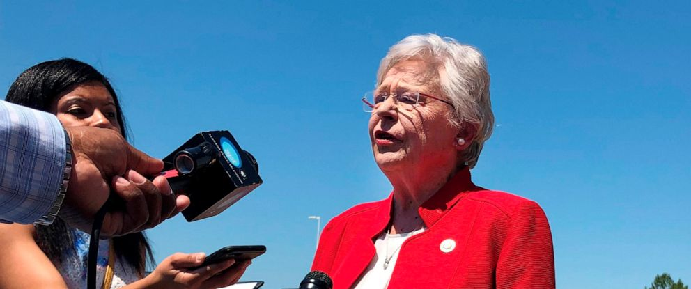 PHOTO:Alabama Gov. Kay Ivey speaks to the press in Montgomery, Ala., May 15, 2019.