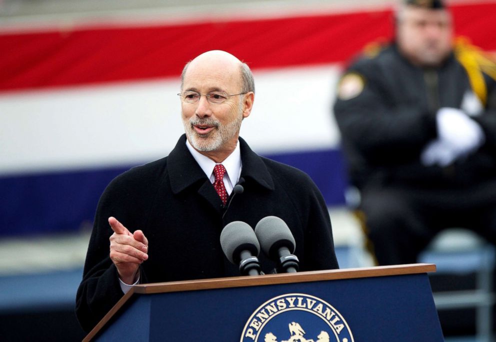 Tom Wolf delivers a speech after being sworn in as the 47th Governor of Pennsylvania during an inauguration at the State Capitol in Harrisburg, Pa., Jan. 20, 2015.