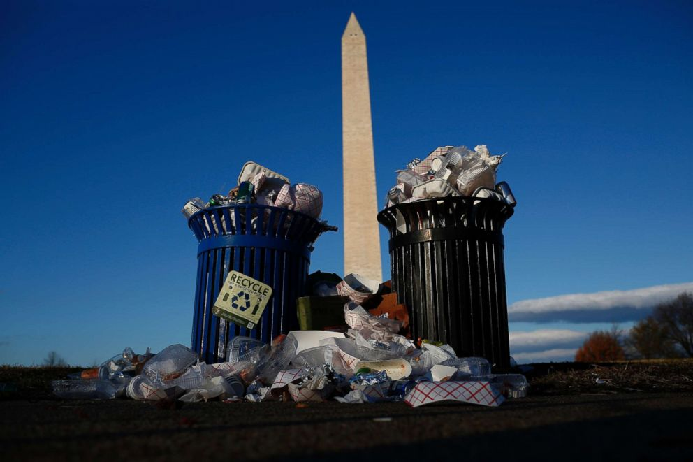 PHOTO: Trash accumulates along the National Mall near the Washington Monument due to a partial shutdown of the federal government on Dec. 24, 2018, in Washington.