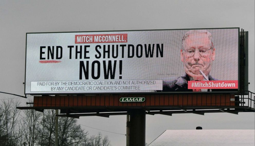 PHOTO: An electronic billboard, sponsored by the Democratic Coalition, calls for Mitch McConnell to end the shutdown on Jan. 12, 2019 in Nicholasville, Ky.