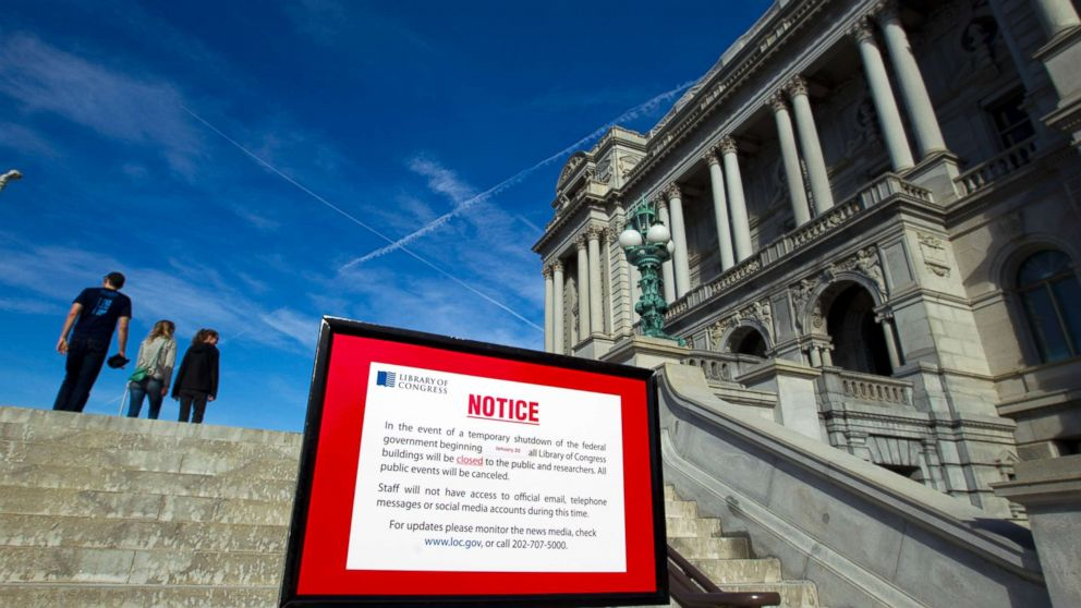 The Library of Congress posted a sign letting people know that it is closed due the shut down of the government, Jan. 20, 2018, in Washington, D.C.