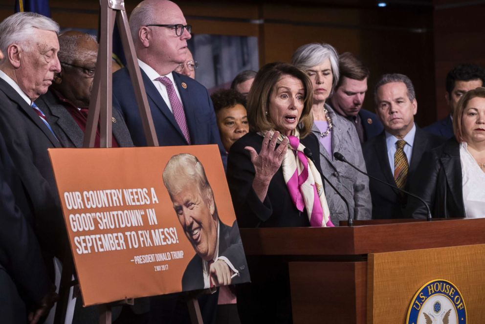 PHOTO: House Minority Leader Nancy Pelosi, center, speaks at a news conference, joined by, from left, Minority Whip Steny Hoyer, and Rep. Joseph Crowley, on the first morning of a government shutdown, Jan. 20, 2018.