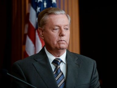 PHOTO: Sen. Lindsey Graham, R-SC, announces a bipartisan agreement on Turkey sanctions during a news conference on Capitol Hill in Washington, D.C., on Oct. 17, 2019.
